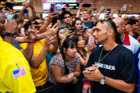 Boxer Keith Thurman makes his way past the crowd to the stage during his grand arrival to the M ...