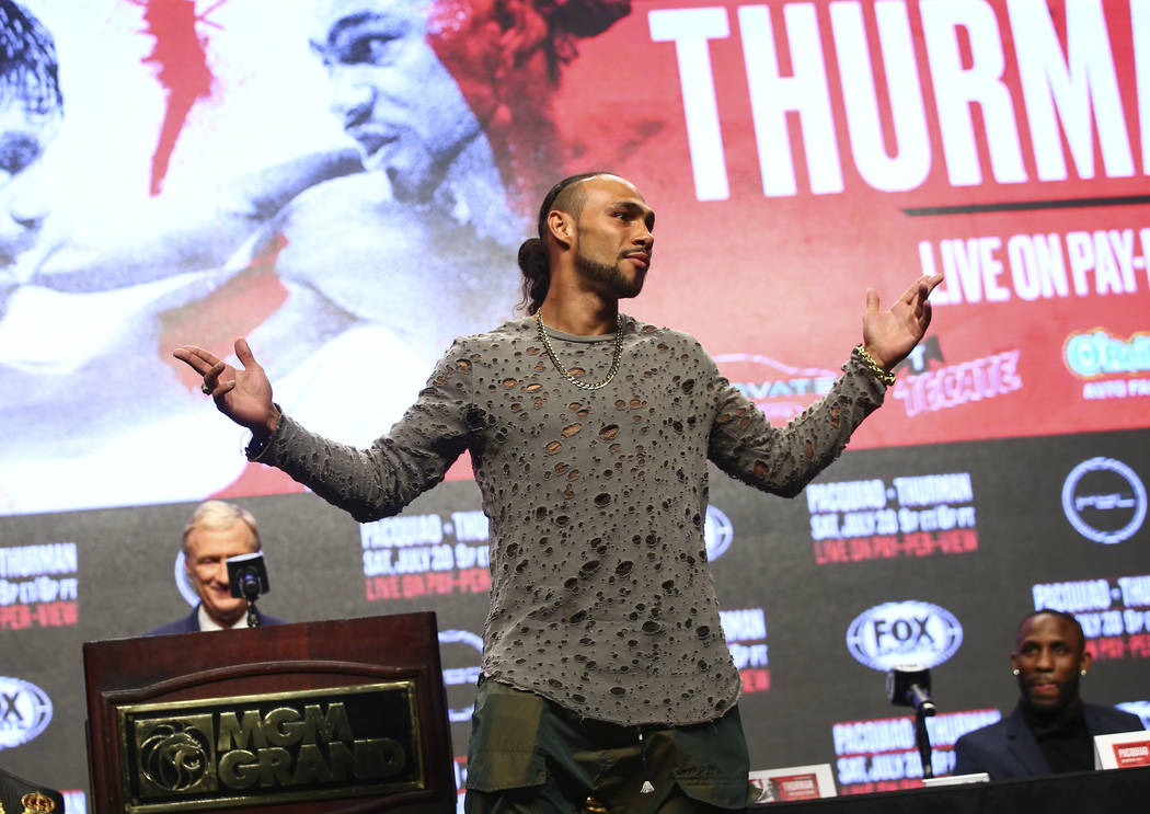 Keith Thurman poses for pictures during a press conference ahead of his WBA welterweight champi ...