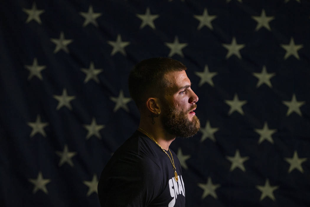 Boxer Caleb Plant, IBF super middleweight champion, gives an interview during a media day/open ...