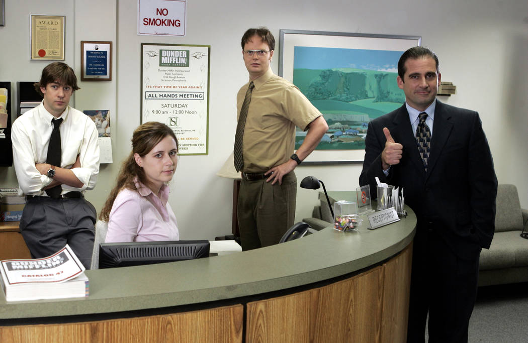 FILE*** COURTESY HANDOUT PHOTO THE OFFICE -- NBC Series -- Pictured: (l-r) John Krasinski as ...