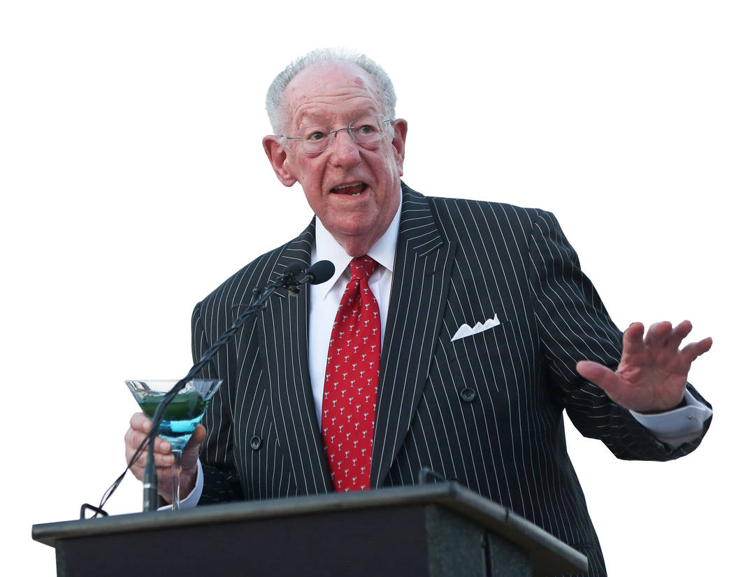 Former Las Vegas Mayor Oscar Goodman speaks during a dedication ceremony for the city's new gat ...