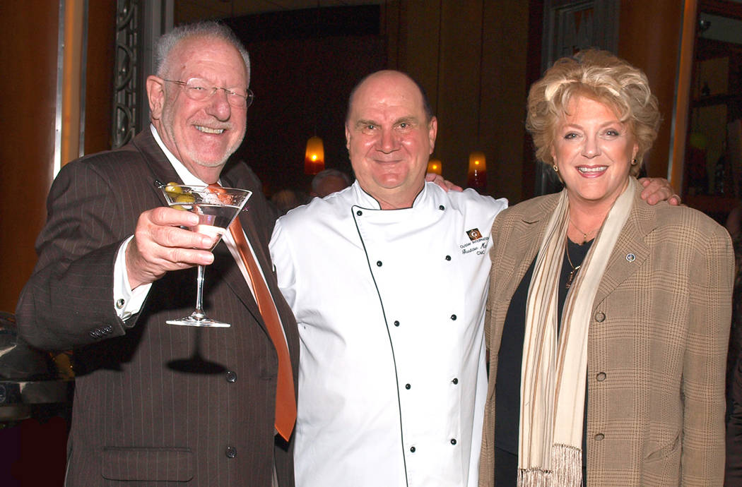 Former Mayor Oscar Goodman, from left, chef Gustav Mauler and Mayor Carolyn Goodman (Review-Jo ...