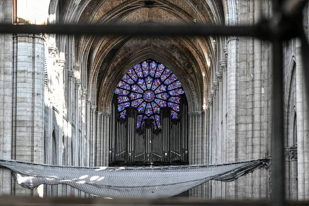 The big organ is pictured during preliminary work at the Notre-Dame de Paris Cathedral, Wednesd ...
