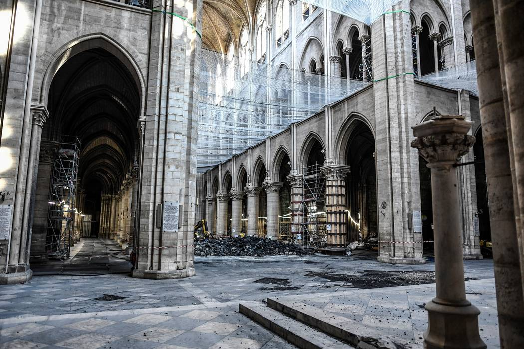 Damage on the nave and rubble during preliminary work in the Notre-Dame de Paris Cathedral thre ...