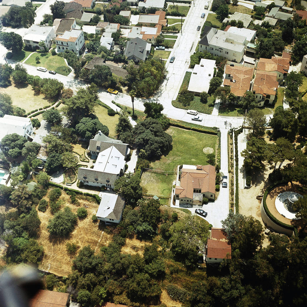 In this Aug. 13, 1969 file photo an aerial view of the home of Leno and Rosemary LaBianca in th ...