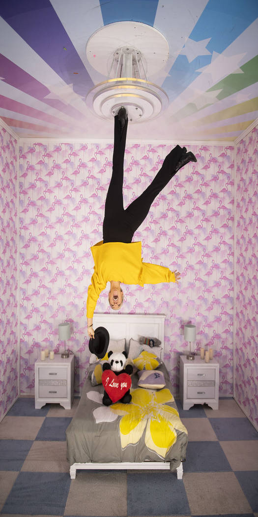 The upside-down room is part of the interactive, immersive pop-up exhibit Happy Place coming to ...
