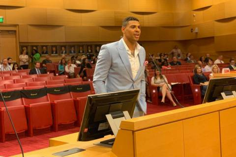 Golden Knights' Ryan Reaves appears during a city council meeting where they approved a liquor ...