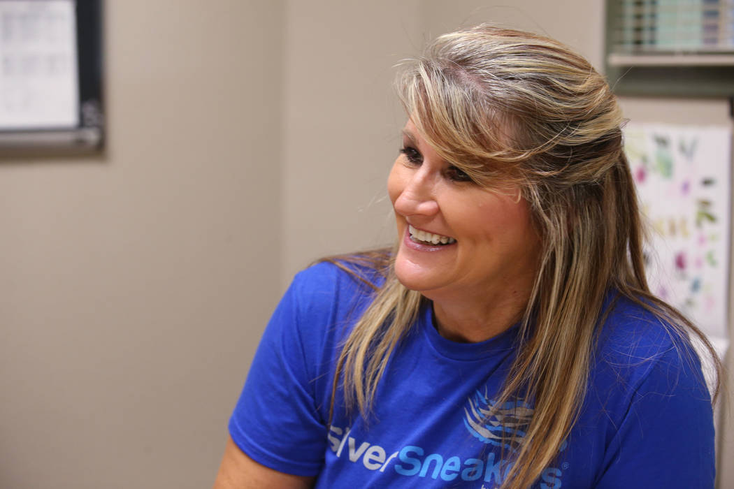Anita Stephens, a SilverSneakers fitness instructor, during an interview at Durango Hills Commu ...