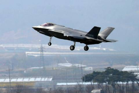 In a March 29, 2019, photo, a U.S. F-35A fighter jet prepares to land at Chungju Air Base in Ch ...