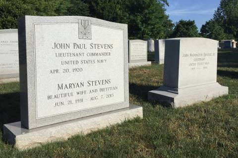 The headstone for retired Supreme Court Justice John Paul Stevens is seen, Wednesday, July 17, ...