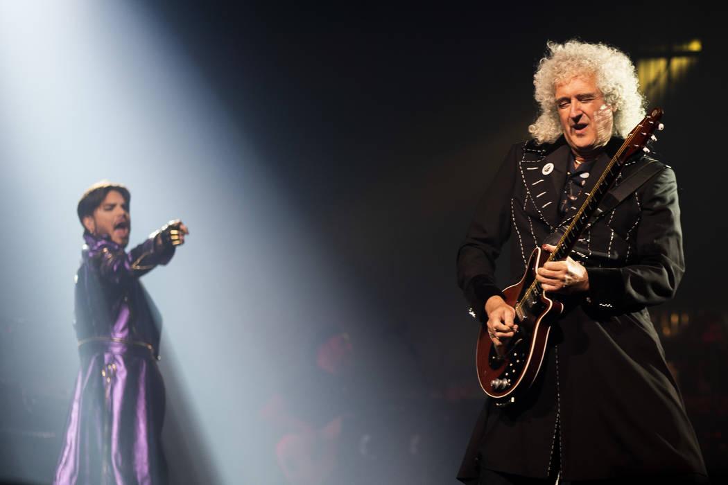 Adam Lambert and Queen guitarist Brian May perform at Park MGM theater in Las Vegas, Saturday, ...