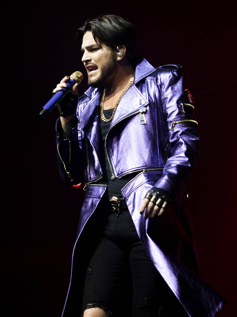 Adam Lambert performs with Queen at Park MGM theater in Las Vegas, Saturday, Sept. 1, 2018. Que ...