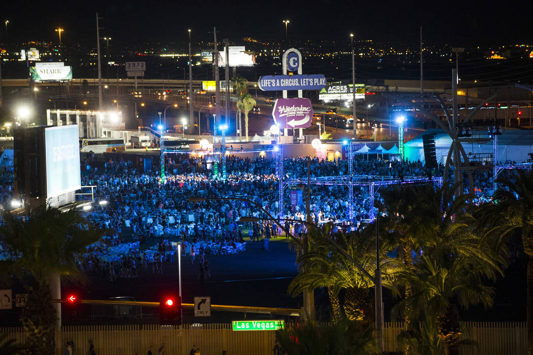 People attend a private concert at the Las Vegas Festival Grounds in Las Vegas on Wednesday, Ju ...
