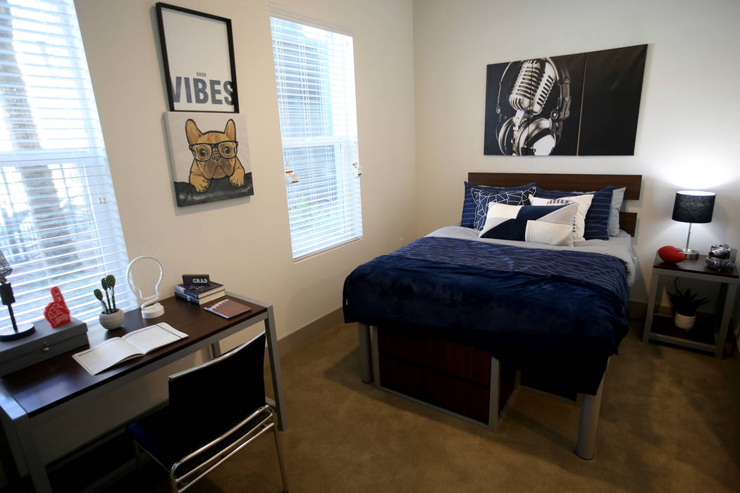 One of four bedrooms in a unit at The Degree, a recently-opened 226-unit on-campus student hous ...