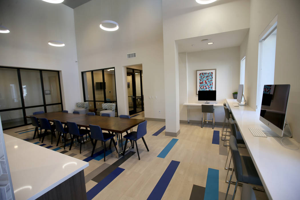 The Cyber Cafe and study hall at The Degree, a recently-opened 226-unit on-campus student housi ...