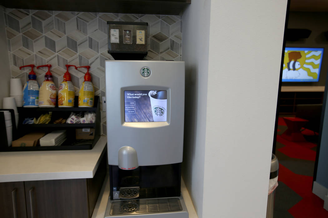 Free Starbucks coffee in the Cyber Cafe at The Degree, a recently-opened 226-unit on-campus stu ...