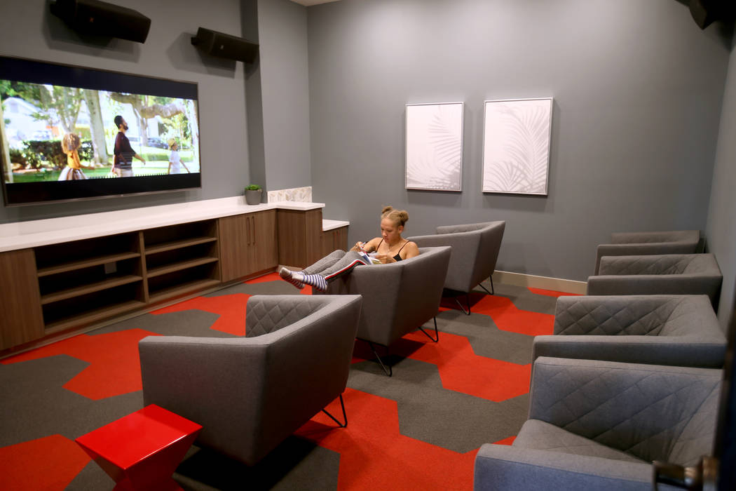 Euphoria Sanders in the theater at The Degree, a recently-opened 226-unit on-campus student hou ...