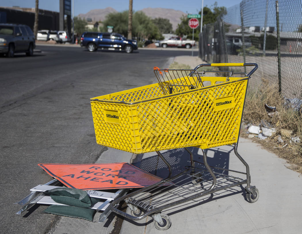 An abandoned shopping cart near the intersection of North Eastern Avenue and East Mesquite Aven ...