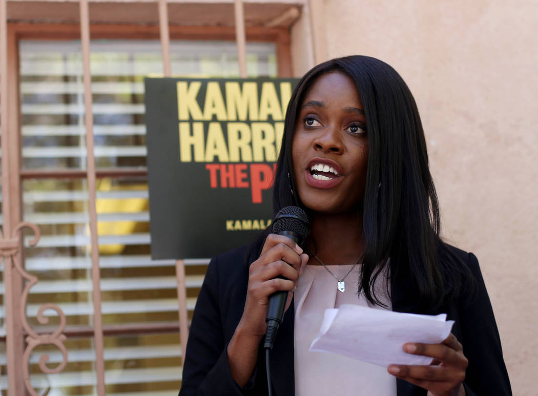 Arielle Edwards, a field organizer for North Las Vegas, addresses guests at a meet-n-greet with ...