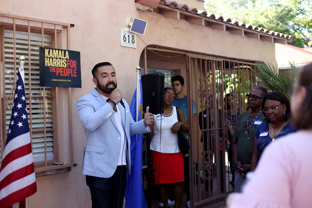 Juan Rodriguez, the national campaign manager, addresses guests at a meet-n-greet with campaign ...