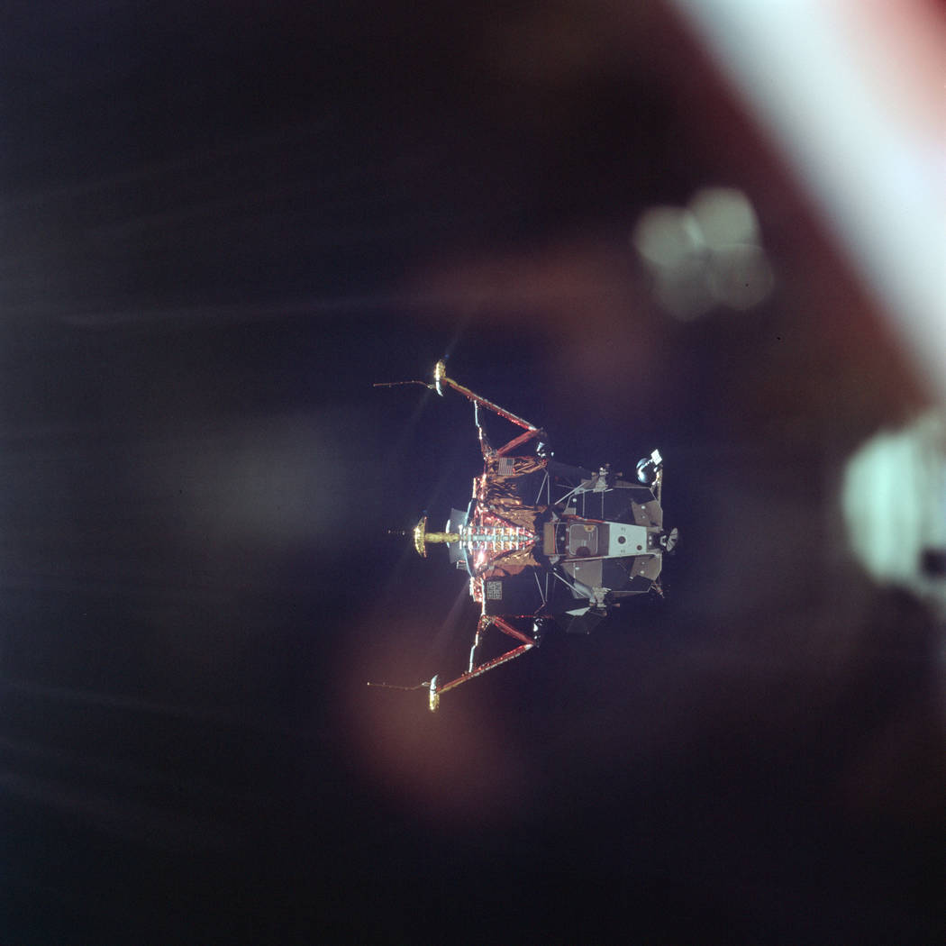 In this July 20, 1969 photo made available by NASA, the Apollo 11 Lunar Module undocks from the ...