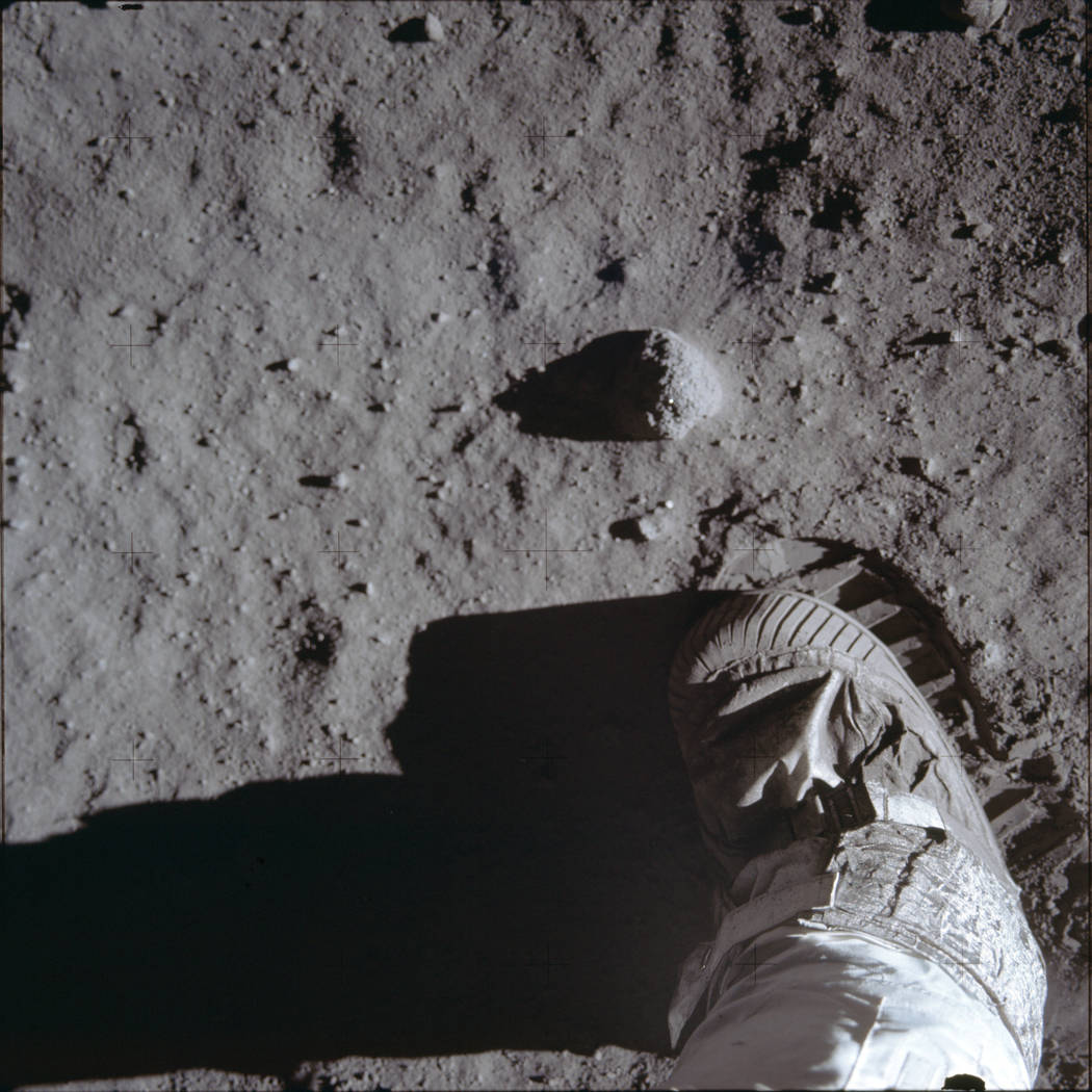 This July 20, 1969 photo made available by NASA shows Buzz Aldrins boot and bootprint during a ...