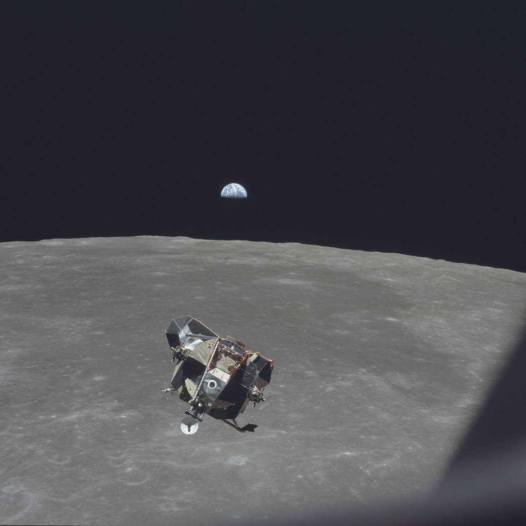 In this July 21, 1969 photo made available by NASA, the Apollo 11 Lunar Module ascent stage, ca ...