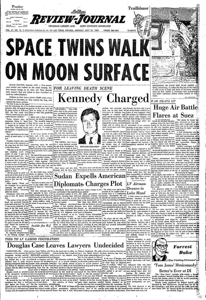 The Las Vegas Review-Journal front page published on Monday, July 21, 1969.
