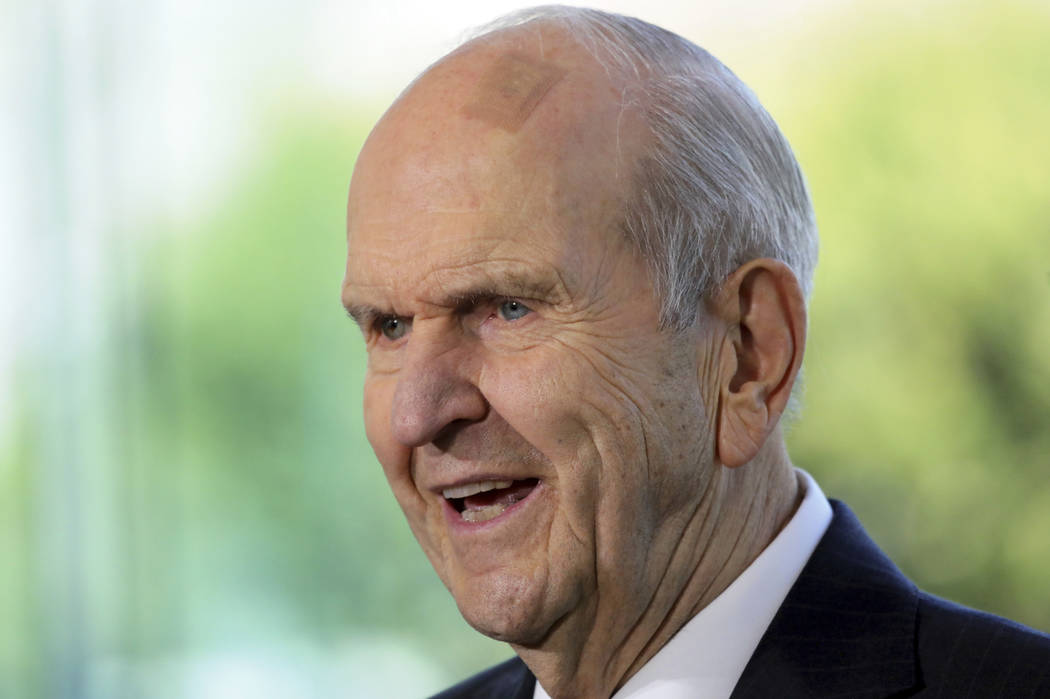FILE - In this April 19, 2019 file photo The Church of Jesus Christ of Latter-day Saints Presid ...
