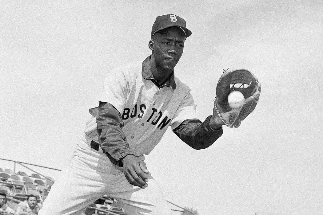 "FILE - In this April 1959 file photo, Boston Red Sox's Elijah ""Pumpsie"" Green poses f ..."