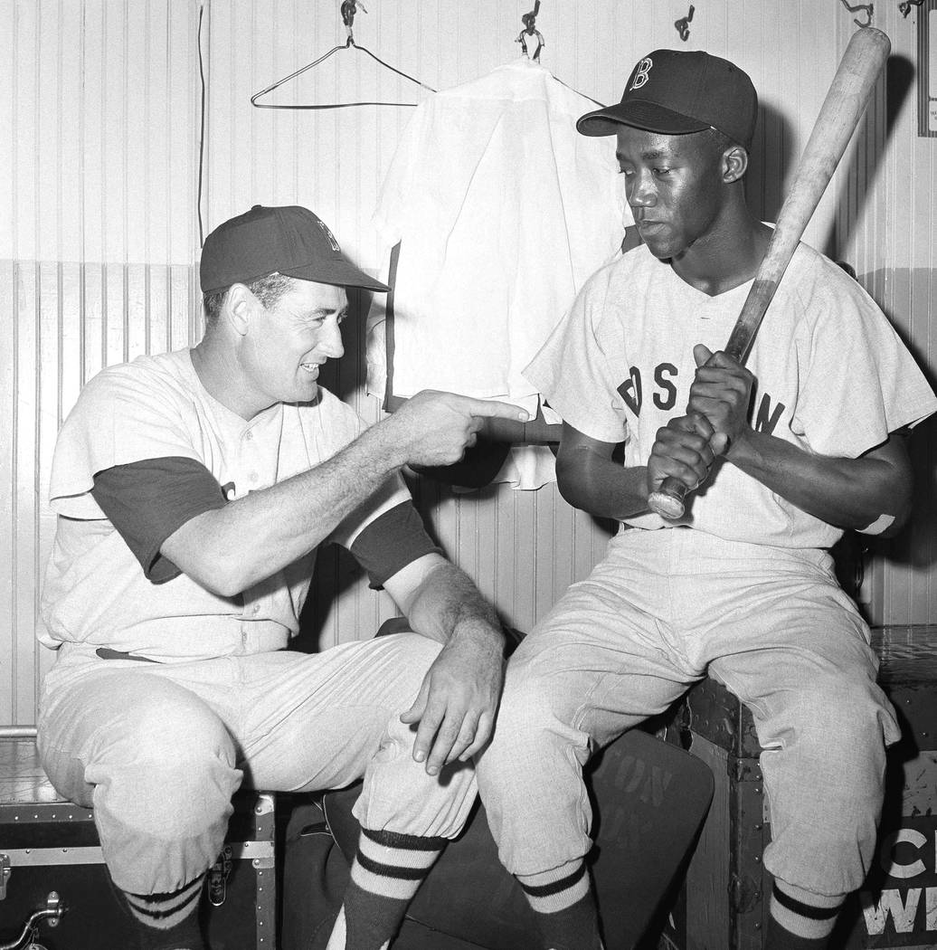 "FILE - In this July 1959 file photo, Elijah ""Pumpsie Green, right, an infielder who was re ..."