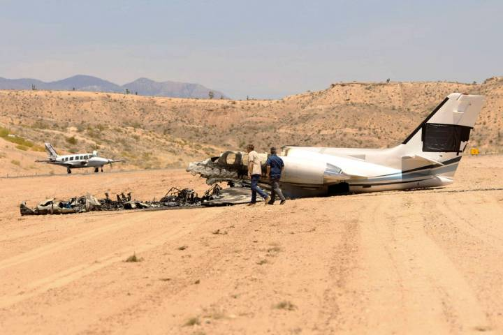 The aftermath of a plane crash at the Mesquite Municipal Airport on Thursday, July 18, 2019. Th ...