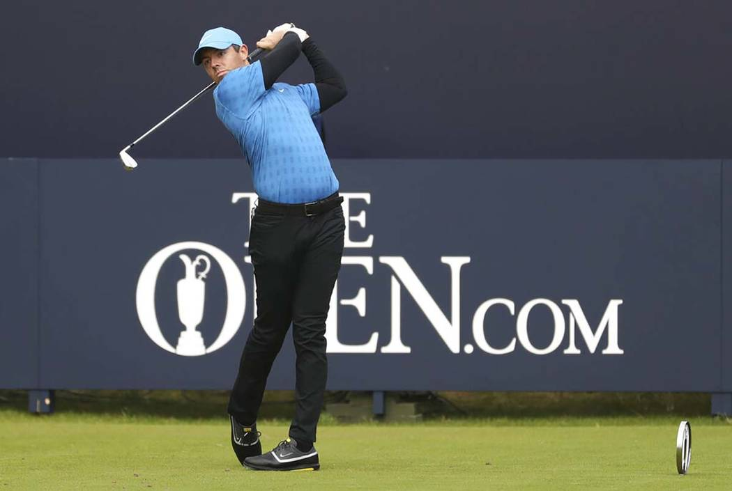 Northern Ireland's Rory McIlroy hits his tee shot off the 1st during the first round of the Bri ...