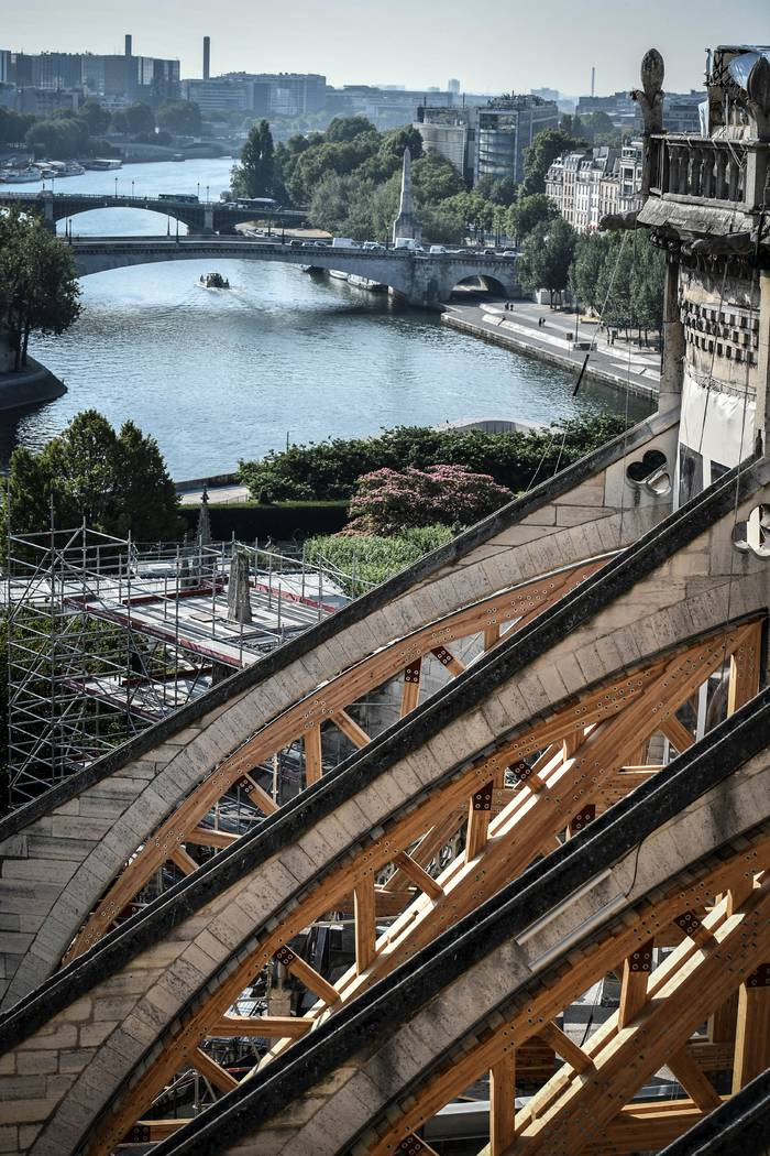 The building's buttress is pictured during preliminary work at the Notre-Dame de Paris Cathedra ...