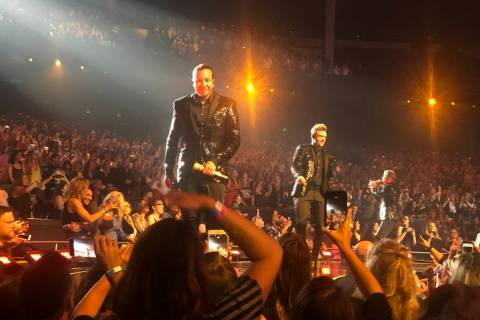 "The Backstreet Boys' are shown at their final ""Larger Than Life"" residency show at Zappos Theat ..."