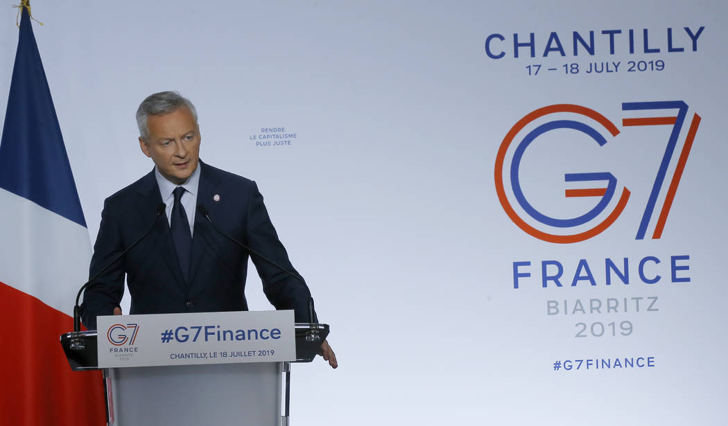 French Finance Minister Bruno Le Maire delivers his speech at the end of the G-7 Finance Thursd ...