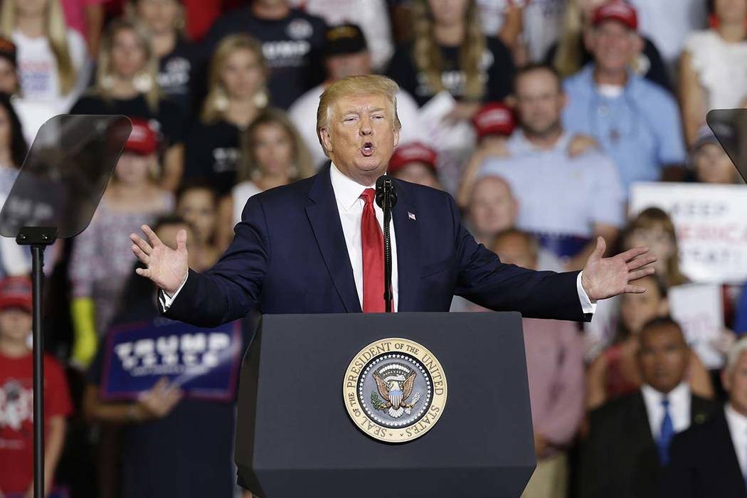 President Donald Trump speaks at a campaign rally in Greenville, N.C., Wednesday, July 17, 2019 ...