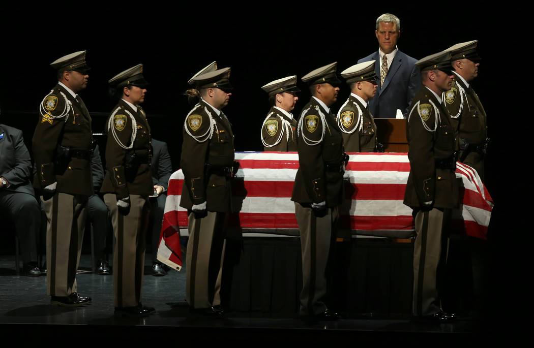 Las Vegas police honor guard during funeral services for former Metropolitan Police Department ...