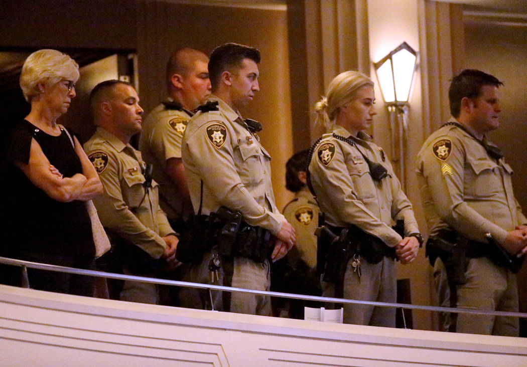 Las Vegas police officers and guests during funeral services for former Metropolitan Police Dep ...