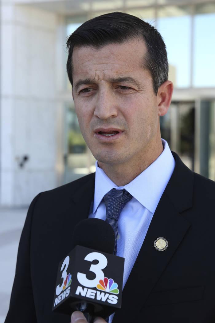 U.S. Attorney Nicholas Trutanich addresses the media after former Nevada Senate Majority Leader ...
