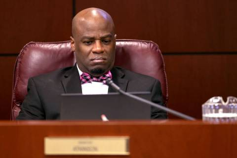 Sen. Kelvin Atkinson, D-North Las Vegas, watches a presentation during a Finance Committee meet ...