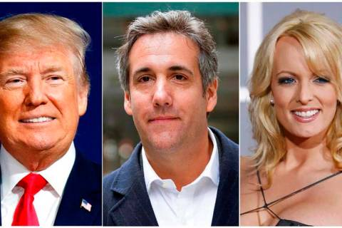 FILE - This combination of file photo shows, from left, President Donald Trump, attorney Michae ...