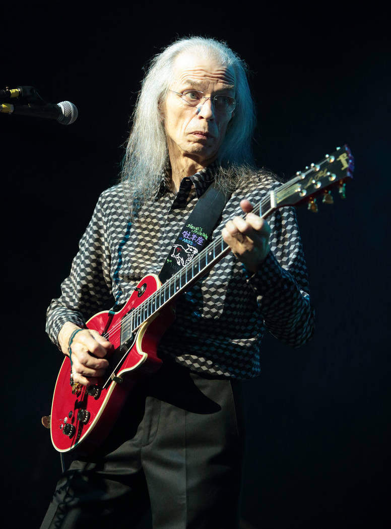Guitarist Steve Howe of the band Yes performs in concert at Pier Six Pavilion on Wednesday, Aug ...