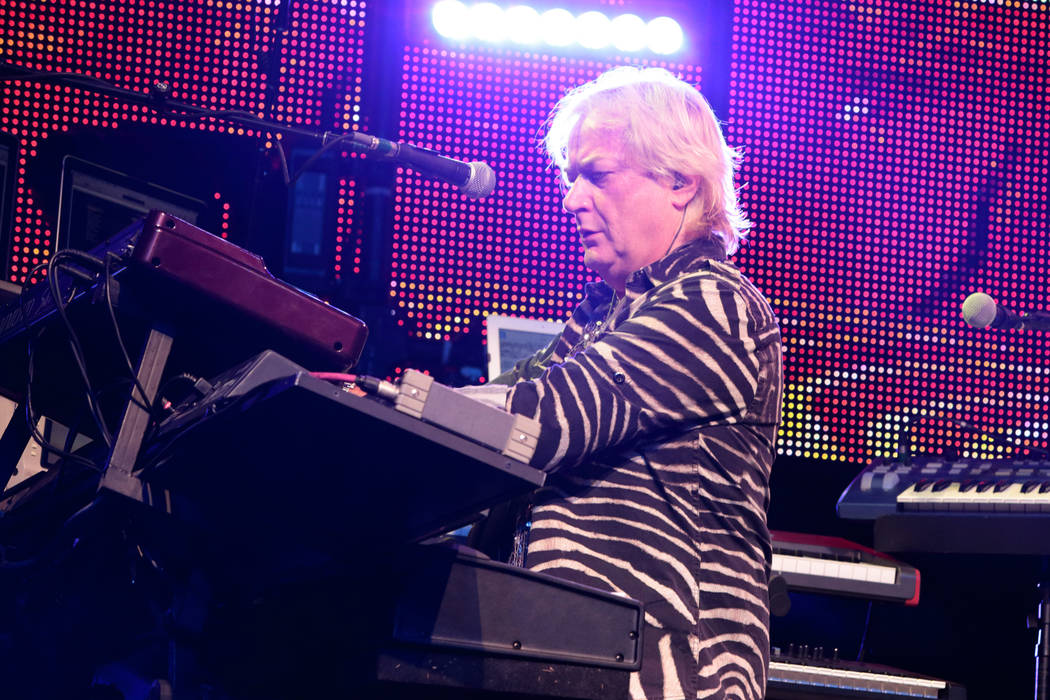 Geoff Downes of the band Yes performs in concert at Pier Six Pavilion on Wednesday, Aug. 12, 20 ...