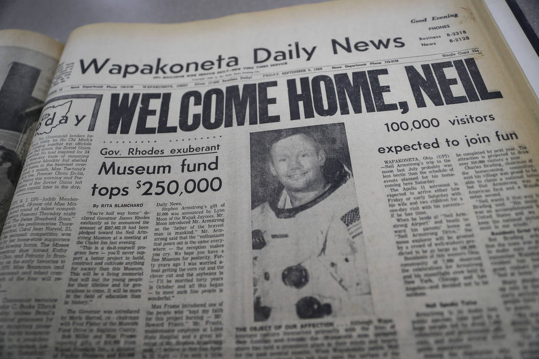 The front page of the Wapakoneta Daily News, dated Sept. 6, 1969, is photographed at the Auglai ...