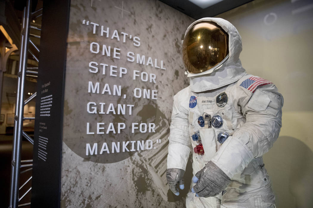 Neil Armstrong's Apollo 11 spacesuit is unveiled at the Smithsonian's National Air and Space Mu ...