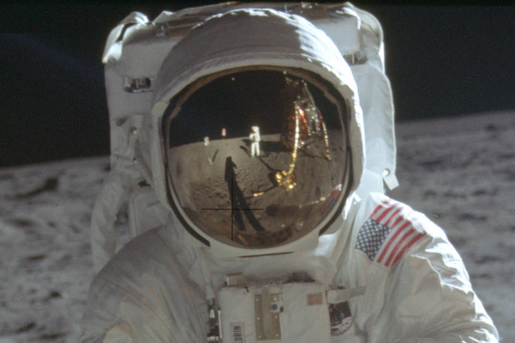 This detail of a July 20, 1969 photo made available by NASA shows astronaut Neil Armstrong refl ...