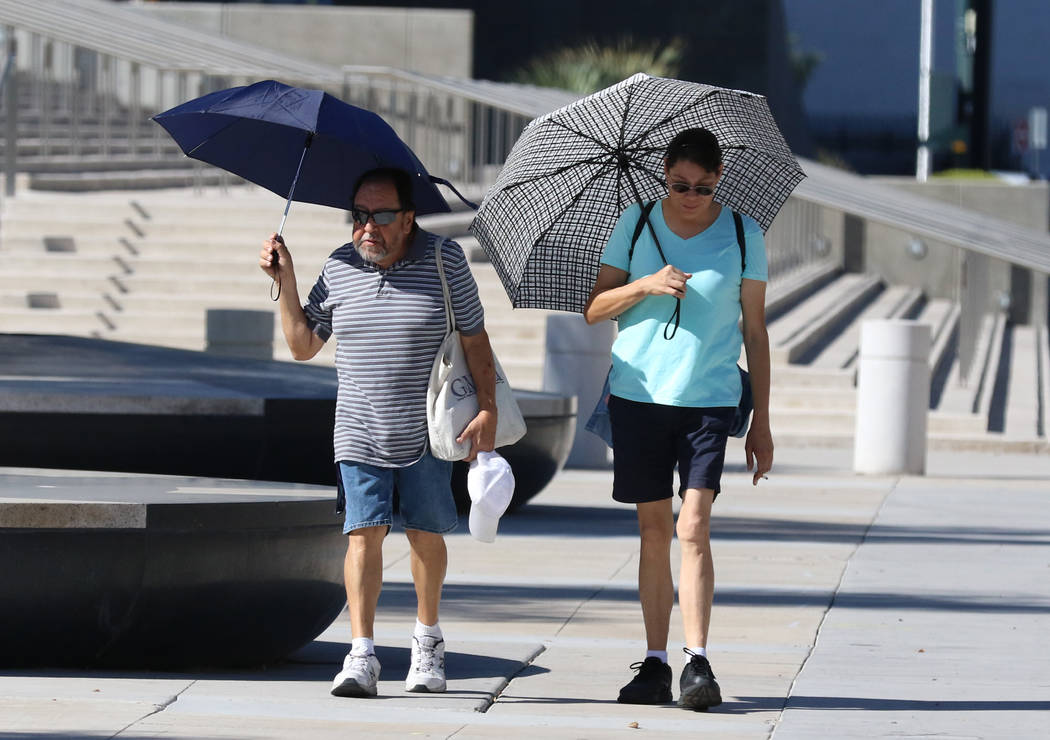 Pedestrians hold umbrellas to protect themselves from sun as they walk along Las Vegas Boulevar ...