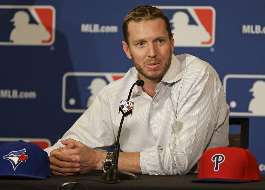 Two-time Cy Young Award winner Roy Halladay answers questions after announcing his retirement a ...