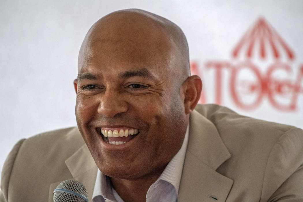 Mariano Rivera speaks to the media during a visit to Saratoga Race Course on Friday, July 12, 2 ...